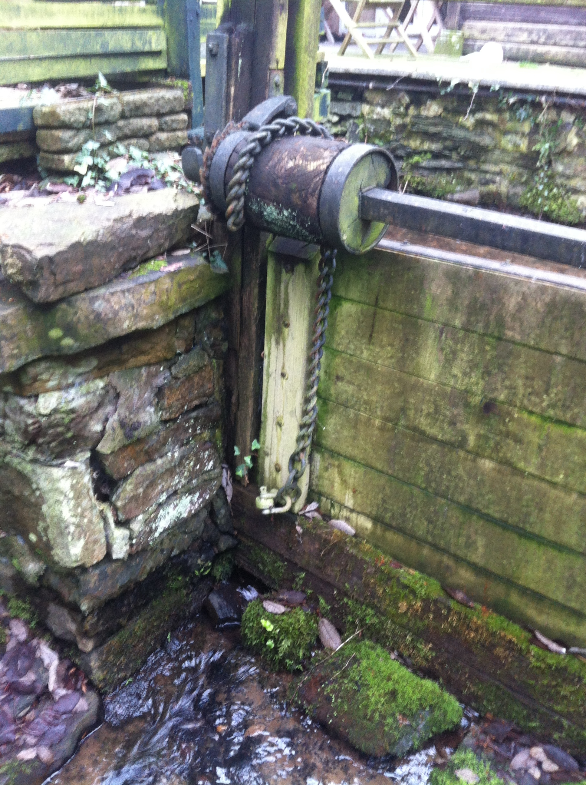 Sluice gate on Town Mills by-pass channel
