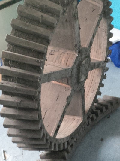 Cogwheel casting pattern found in Dulverton Laundry attic 2015